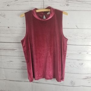 ⚡Loft Velvet Sleeveless Blouse Burgundy Large